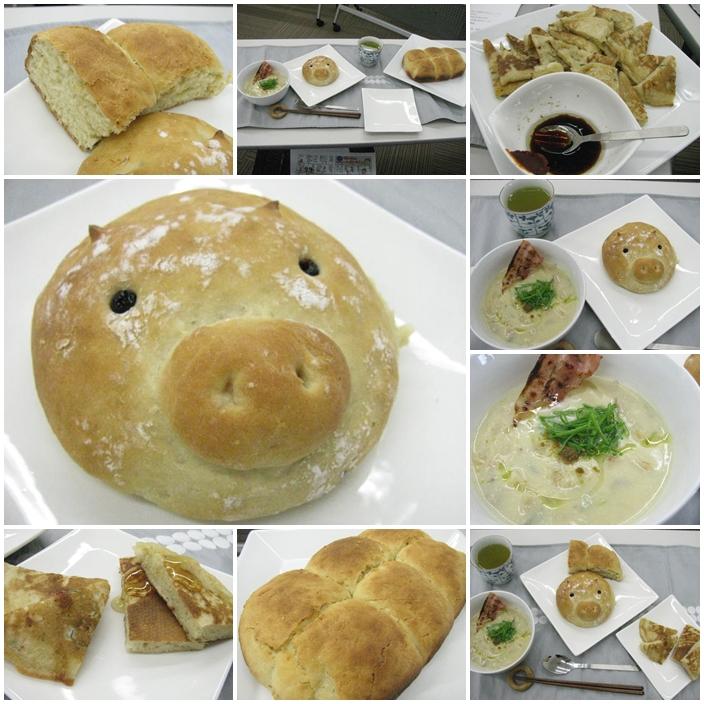 20120127昭和ガス料理教室、豚マンマン、米粉もちもちパン、白菜ポタージュカリカリベーコン添え
