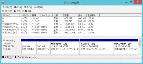 起動ディスクのパーテーション作成129GB129GB 550GB_01