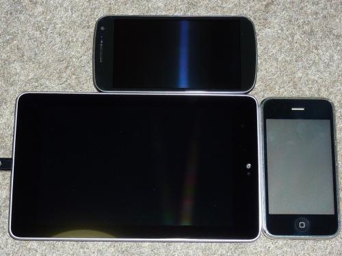 Nexus 7、iPhone 3GS、Galaxy Nexus