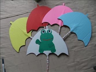 ペープサート 傘 くるるん かえる