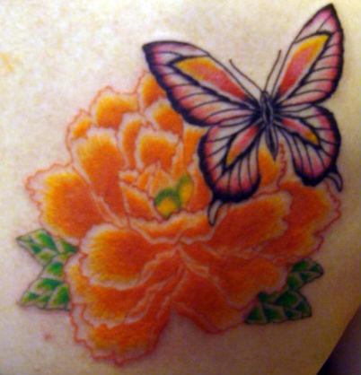 蝶と牡丹 ワンポイント