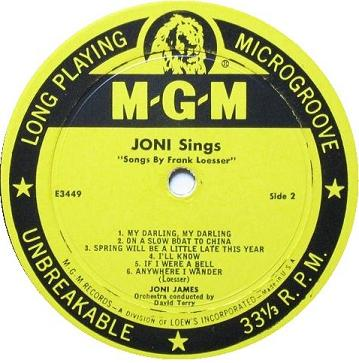 Joni Sings Songs By Victor Young Songs By Frank Loesser Label