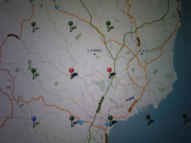 夕方からのいわき市周辺の震源地マップ