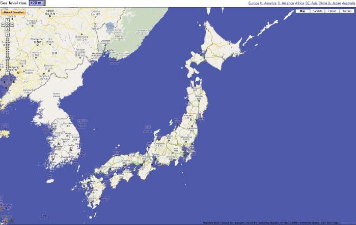 googleマップを利用した海抜情報