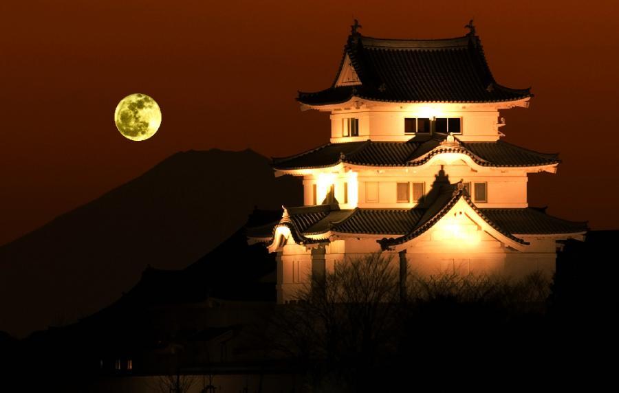 2009 12 22 01 20no満月と_関宿城_0958OK