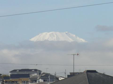 白くなった富士山