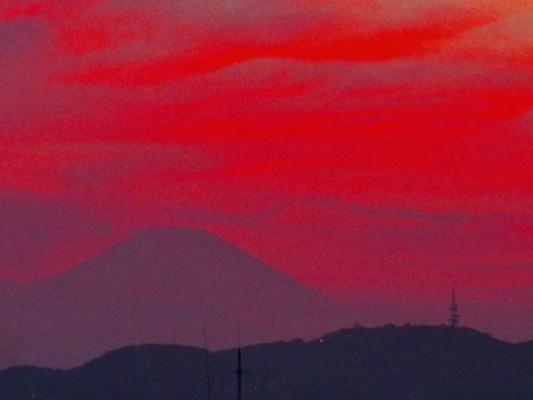 夕焼けと富士