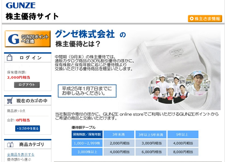 グンゼ株主優待サイト201209