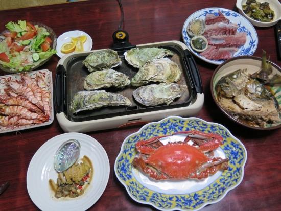 ワタリガニのある海鮮晩ご飯