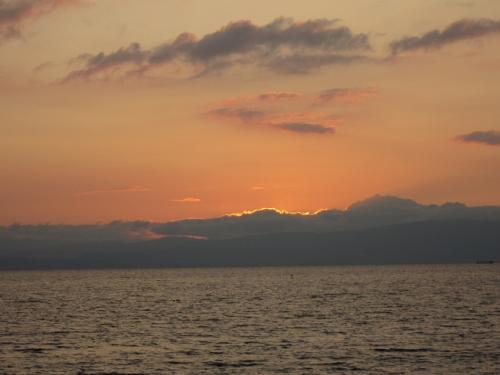 長浜 琵琶湖の夕日