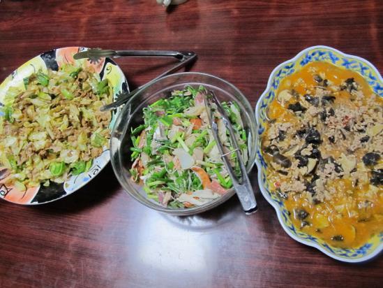 回鍋肉、麻婆春雨、お刺身サラダ