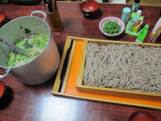 ブタホウレンソウ鍋リサイクル蕎麦