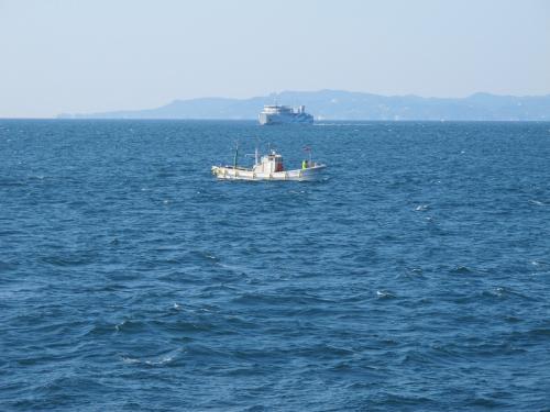 伊勢湾フェリーと漁船
