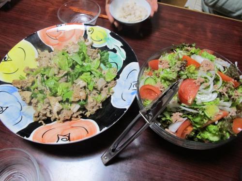 豚肉とキャベツ炒め、ツナサラダ