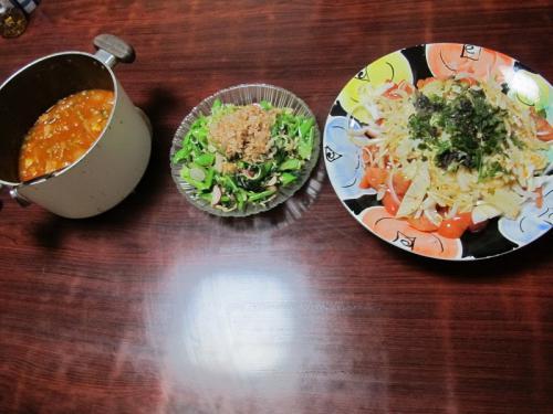トマトとオニオンのサラダ、小松菜のサラダ、トマト煮の残り物