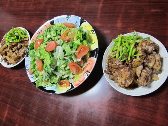豚肉塩麹焼き、サラダ