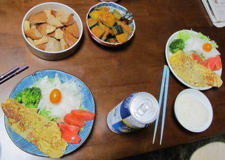 オムレツと煮物の晩ご飯