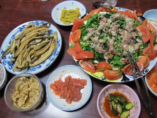 アナゴ煮、豆腐ほうれん草サラダ、明太子他