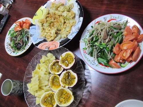 ニラレバ炒めとピタヤの天ぷら