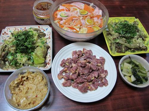 馬いカルビ、焼きナス、ハムマリネサラダ