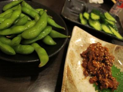 枝豆、トリチャンジャ、きゅうりの1本漬け