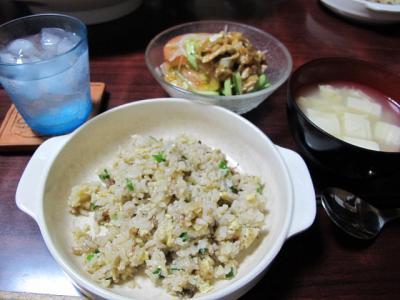 炒飯、棒棒鶏、豆腐の中華スープ