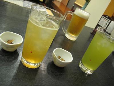 焼酎お茶割,生ビール,あんず酒ソーダ割り