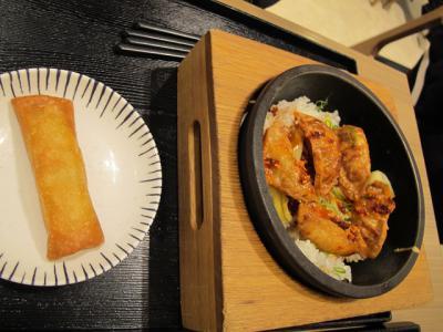 揚げ餃子炒飯と春巻き