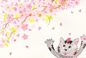 作品「ニャゴリータと桜」