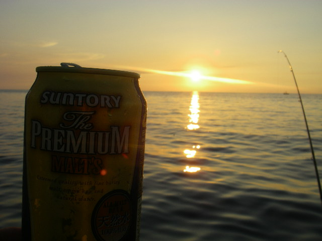 夕日を見ながら・・・1杯