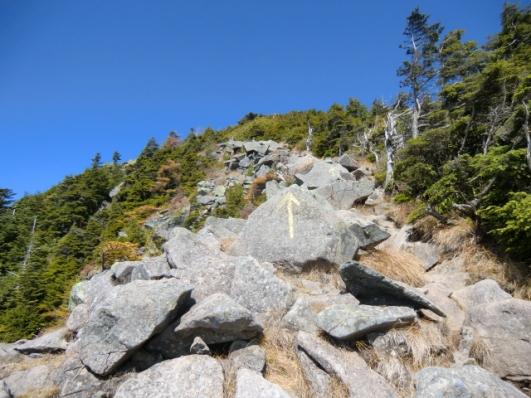岩場を山頂へ