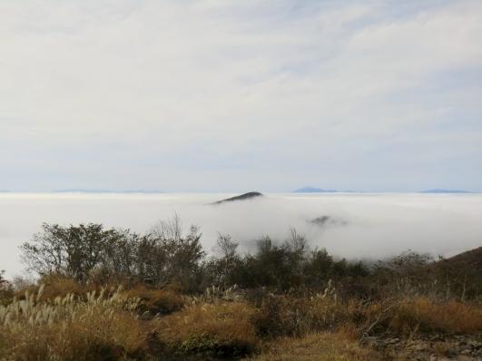 雲海に浮かぶ荒山