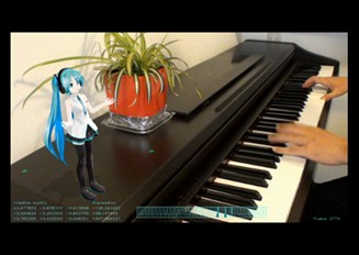 【AR】ピアノに合わせてミクに歌ってもらった【MMD】