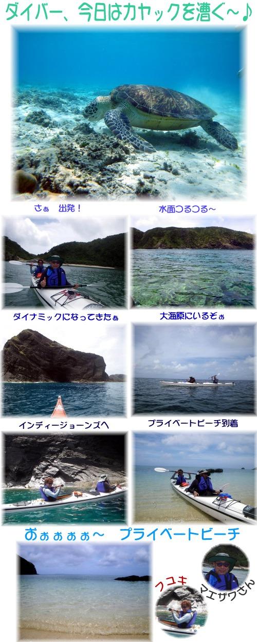 ダイバー、カヤックを漕ぐ