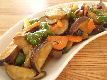 夏野菜のピリ辛味噌炒め