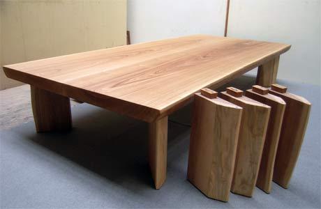 タモ材の2ウェイ ローテーブル