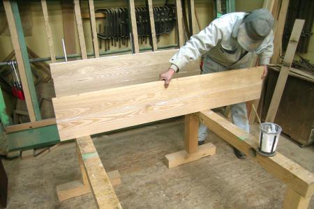 テーブル天板の製作の様子