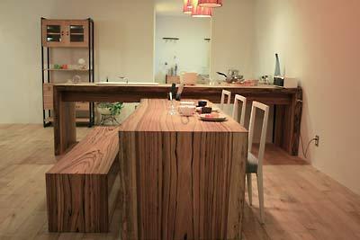 一枚板でつくったゼブラウッドのダイニングテーブルセット