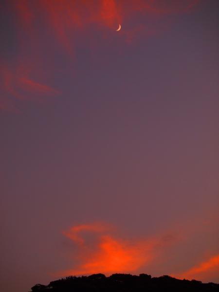 夕焼け空に三日月も