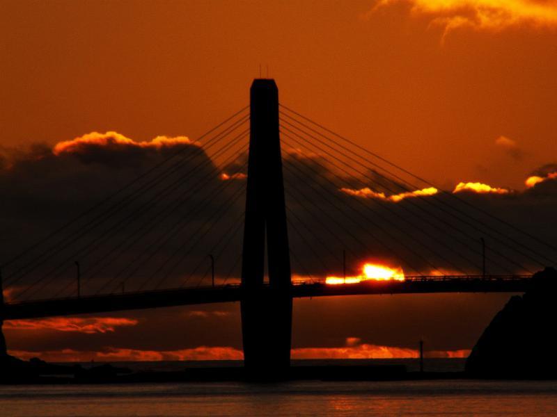 大明神橋の夕陽 1
