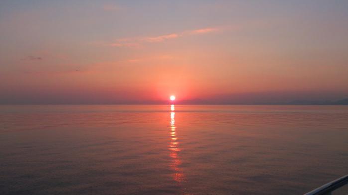 フェリーからの夕陽