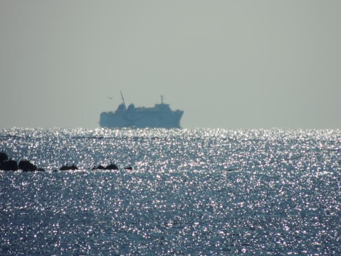 水平線にフェリーニューこしき 鹿島港