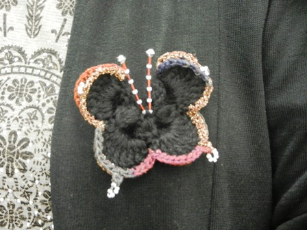 地味な服に映える蝶々になりました。