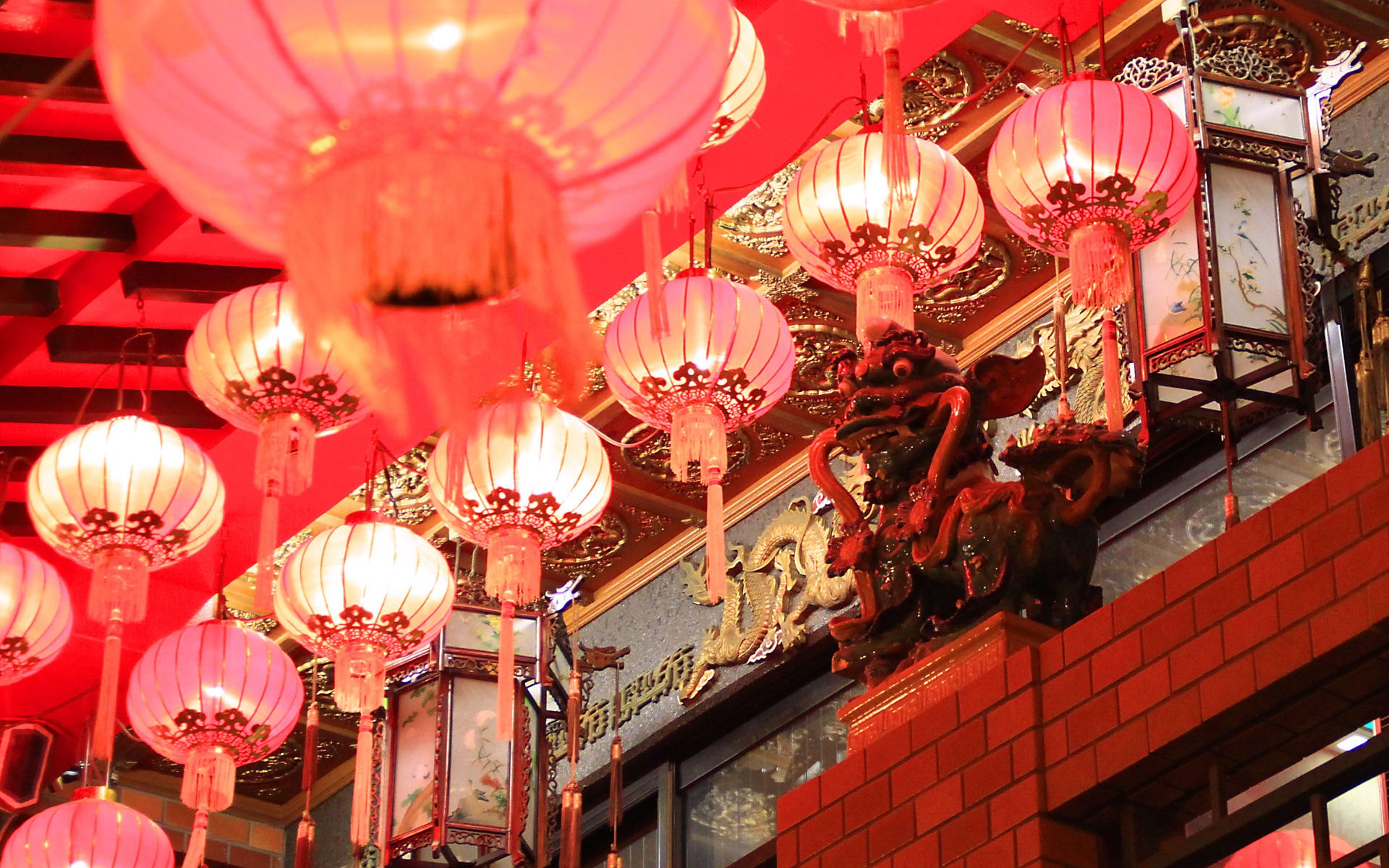神戸南京町春節祭の夜景と中国提灯/WUXGA1920×1200