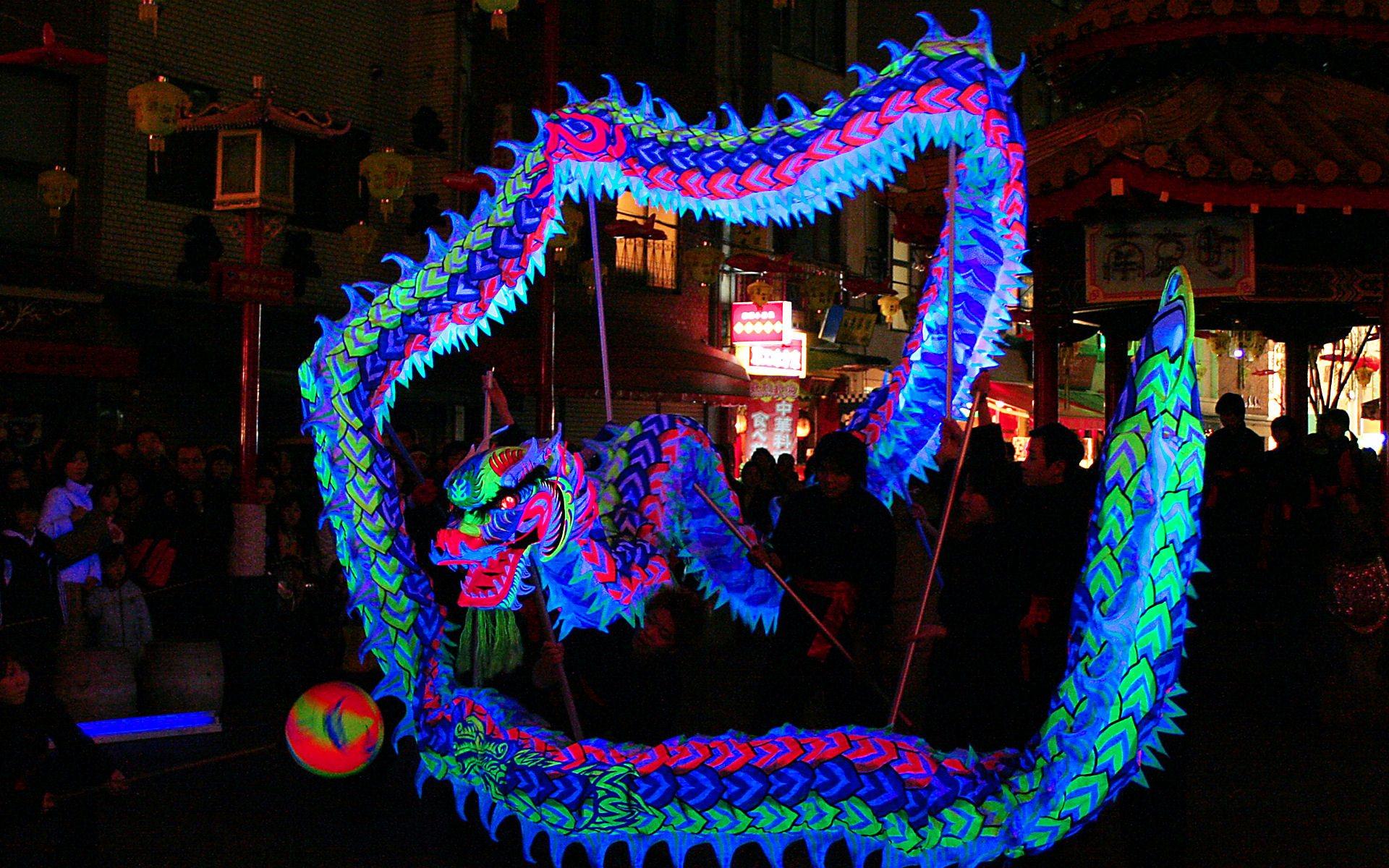 神戸南京町春節祭の夜光龍/WUXGA1920×1200