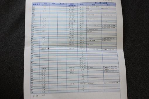 2012年3月27日ミッキー君血液検査データ