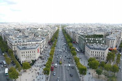 凱旋門からシャンゼリゼを見る