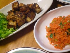 厚揚げの炒め物、ニンジンのサラダ