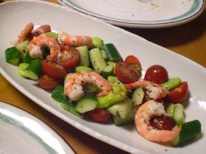エビ・キュウリ・トマト・空豆のサラダ