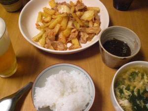 豚バラと山芋のキムチ炒め